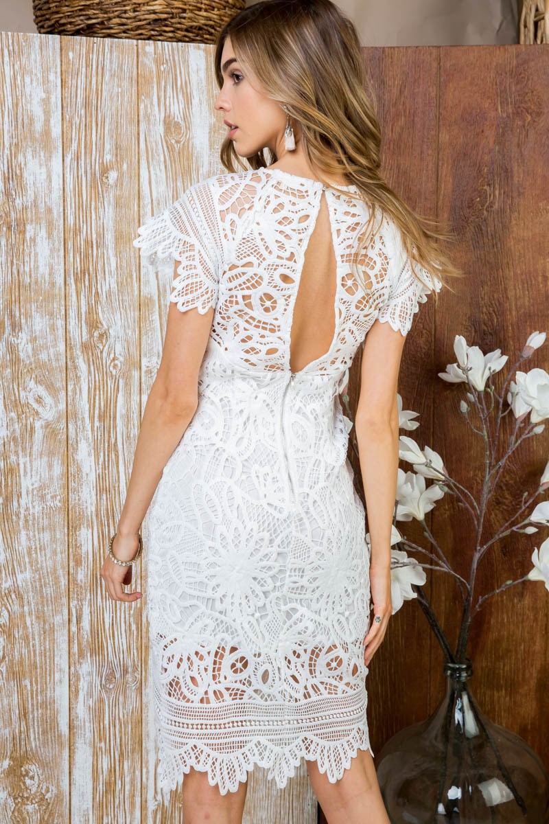 Buy Open Back Lace Detail Dress White online at Southern Fashion Boutique Bliss