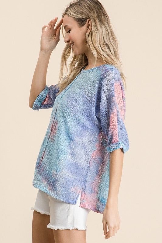 Tie Dye Popcorn Sweater Blue