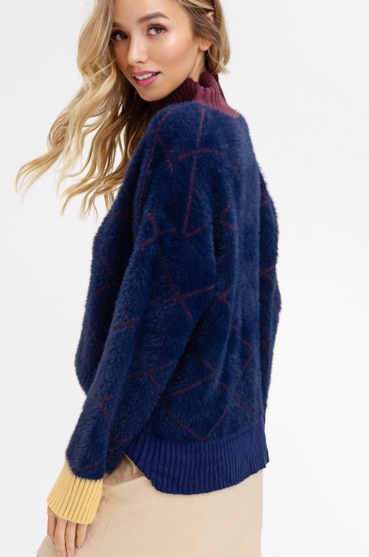 Buy Soft Fur Color Blocked Ribbed Sweater Ink Blue online at Southern Fashion Boutique Bliss