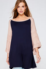 Buy Oversized Ruffled Sleeve Round Neck Top Navy online at Southern Fashion Boutique Bliss