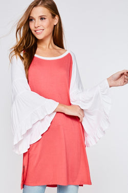 Buy Oversized Ruffled Sleeve Round Neck Top Coral online at Southern Fashion Boutique Bliss