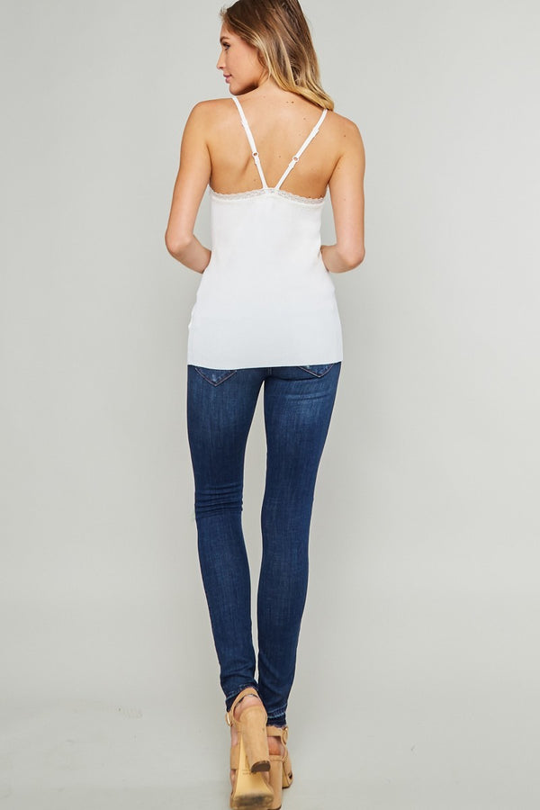 Buy Laced Ribbed Cami Top Cream online at Southern Fashion Boutique Bliss