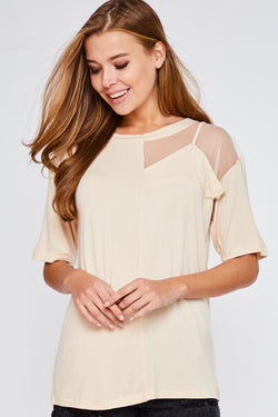 Buy Mesh Contrast Half Sleeve Top Peach online at Southern Fashion Boutique Bliss
