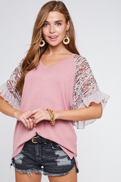 Buy Floral Bell Sleeve V-Neck Top Pink online at Southern Fashion Boutique Bliss