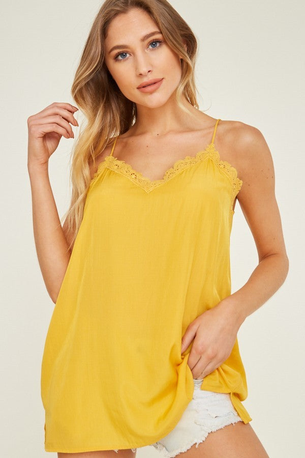 Buy Lace Trim Cami Top Honey online at Southern Fashion Boutique Bliss