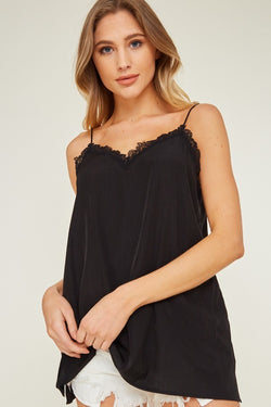 Buy Lace Trim Cami Top Black online at Southern Fashion Boutique Bliss