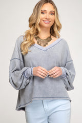 Buy Bubble Sleeve Waffle Knit Top Blue online at Southern Fashion Boutique Bliss