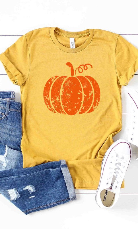 Distressed Pumpkin Graphic Tee Mustard