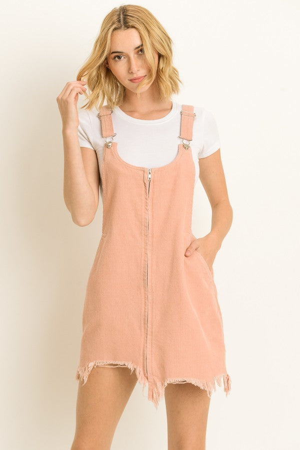 Buy Overall Zip Dress with Distressed Trim Pink online at Southern Fashion Boutique Bliss
