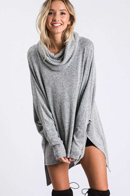 Turtle Neck Poncho Style Top Heather Gray