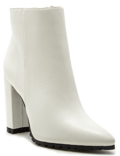 Buy Pointy Chunky Ankle Booties White online at Southern Fashion Boutique Bliss