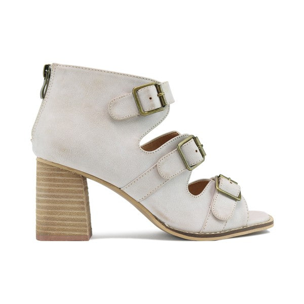 Buckled Accents Chunky Sandals Sand