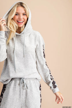 Buy Animal Print Lounge Hoodie Sweater Grey online at Southern Fashion Boutique Bliss