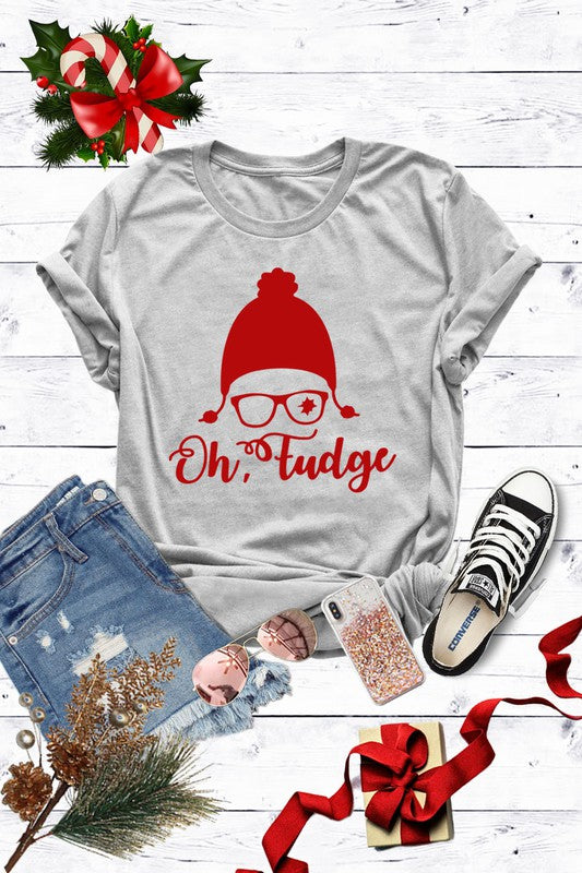 Oh Fudge Christmas Tee Heather Grey