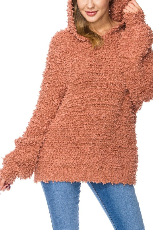 Fuzzy Knit Hooded Popcorn Sweater Sedona - Athens Georgia Women's Fashion Boutique