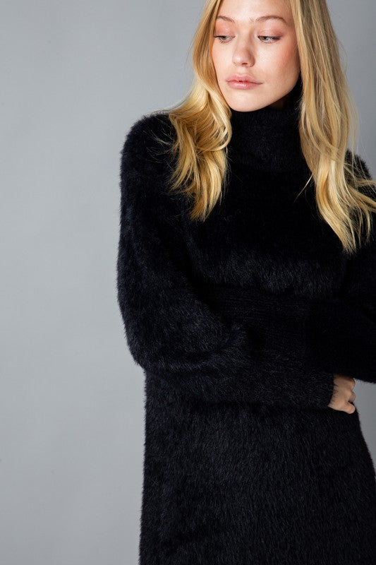 Mohair Turtleneck Sweater Dress Black
