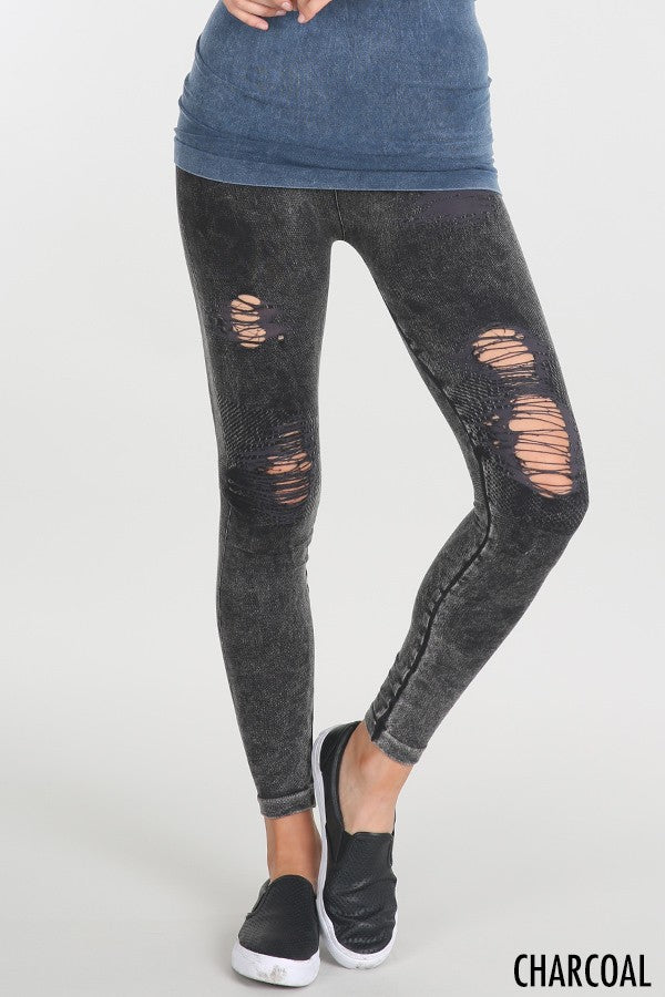 Buy Vintage Destroyed Leggings Charcoal online at Southern Fashion Boutique Bliss
