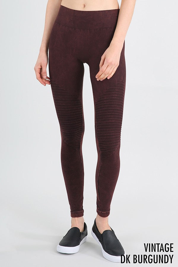 Buy Vintage Moto Long Leggings Dark Burgundy online at Southern Fashion Boutique Bliss