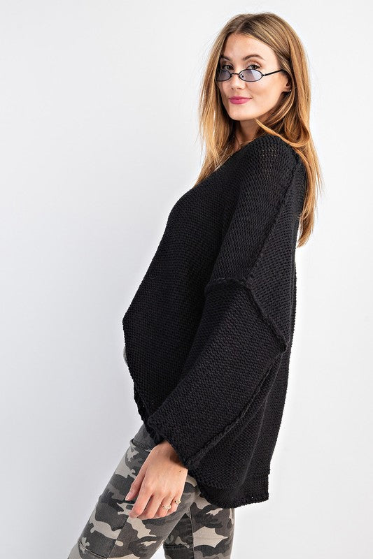 Buy Dolman Sleeve Knitted Boxy Sweater Black online at Southern Fashion Boutique Bliss