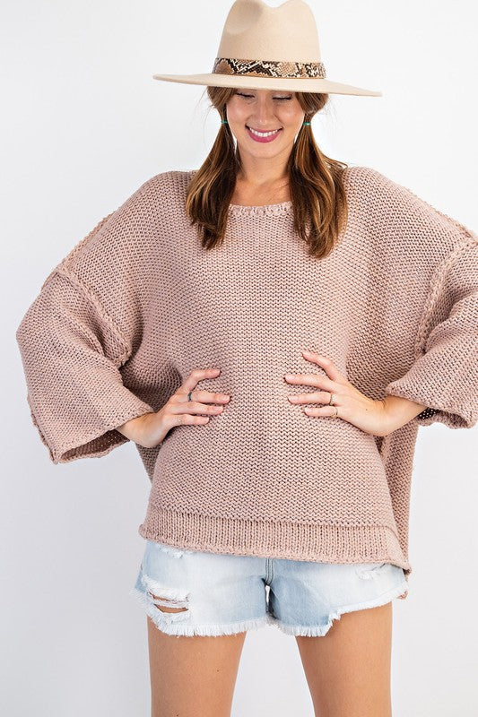Dolman Sleeve Knitted Boxy Sweater Mauve