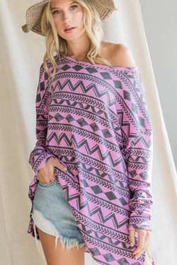 Buy Ethnic Print Boat Neck Top Magenta online at Southern Fashion Boutique Bliss