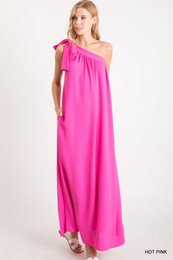 Buy Solid Self-Tie One Shoulder Maxi Dress Pink online at Southern Fashion Boutique Bliss