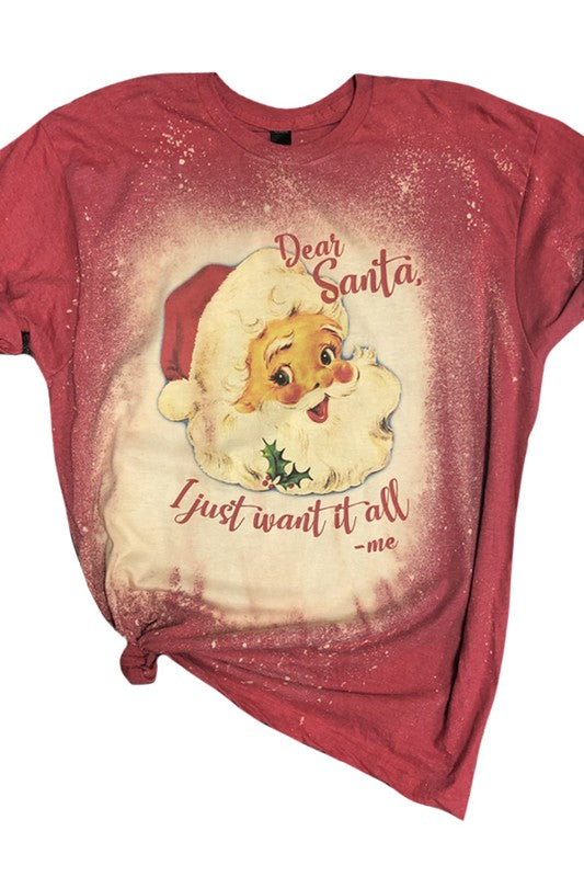Dear Santa Bleached Tee Red