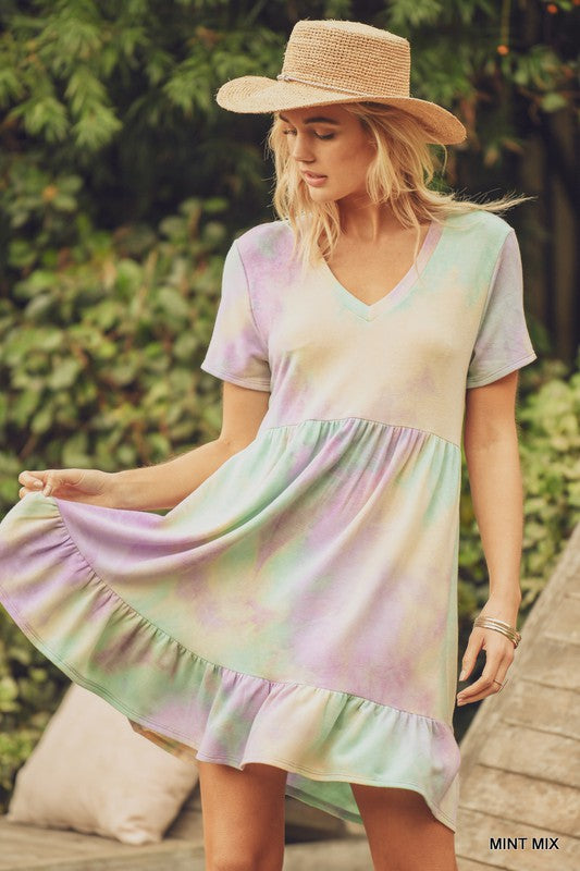 Tie-Dye Baby Doll Ruffle Hem Dress Mint