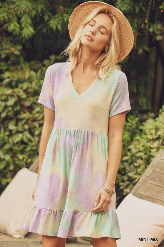Buy Tie-Dye Baby Doll Ruffle Hem Dress Mint online at Southern Fashion Boutique Bliss