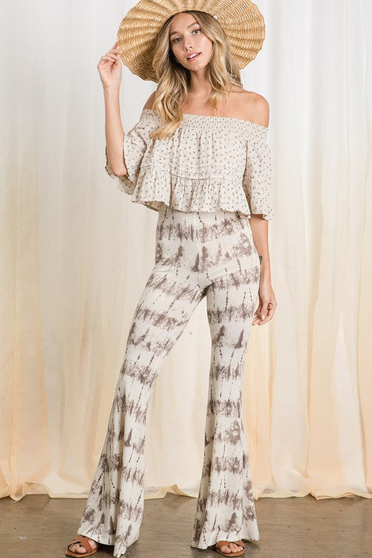 Tie Dye Printed Knit Fabric Flare Pants Taupe