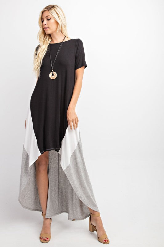 Buy Hi-Lo Short Sleeve Color Block Maxi Dress Black/White online at Southern Fashion Boutique Bliss