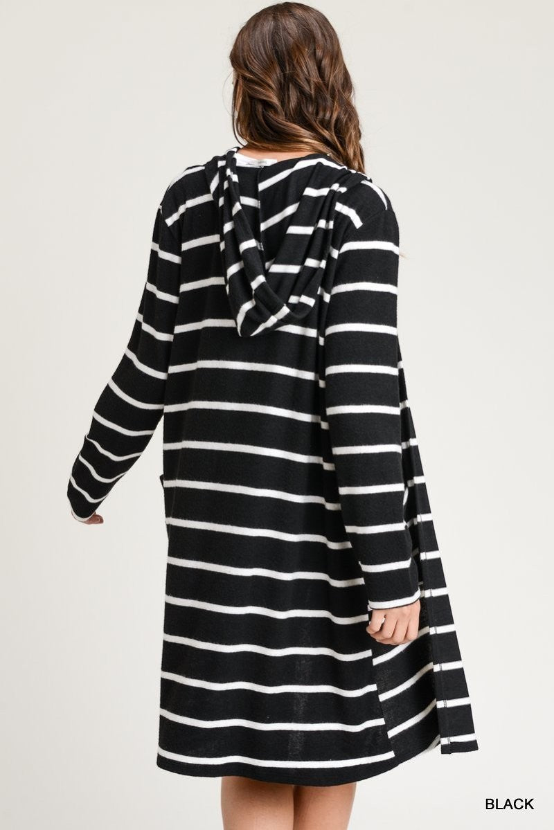 Buy Striped Hoodie Long Sleeve Cardigan w/Front Pockets Black online at Southern Fashion Boutique Bliss