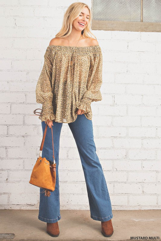 Smock Neck Band Chiffon Top Mustard