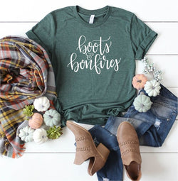 Boots and Bonfires Graphic Tee Forest - Athens Georgia Women's Fashion Boutique
