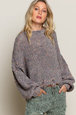 Buy Distressed Hem Confetti Sweater Grey online at Southern Fashion Boutique Bliss