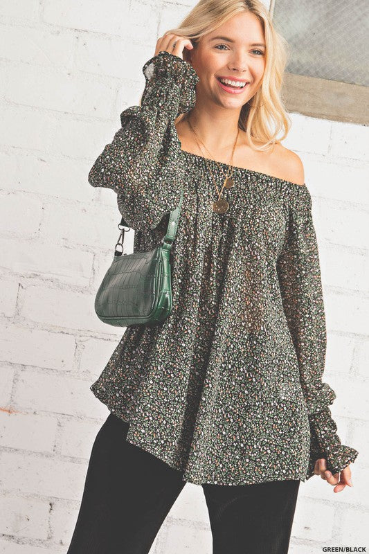 Buy Smock Neck Band Chiffon Top Green/Black online at Southern Fashion Boutique Bliss