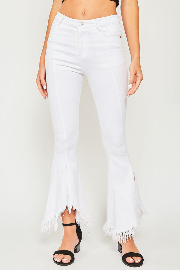 Buy Destroyed Bottom Flare Denim Jeans White online at Southern Fashion Boutique Bliss