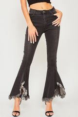 Buy Destroyed Bottom Flare Denim Jeans Black online at Southern Fashion Boutique Bliss