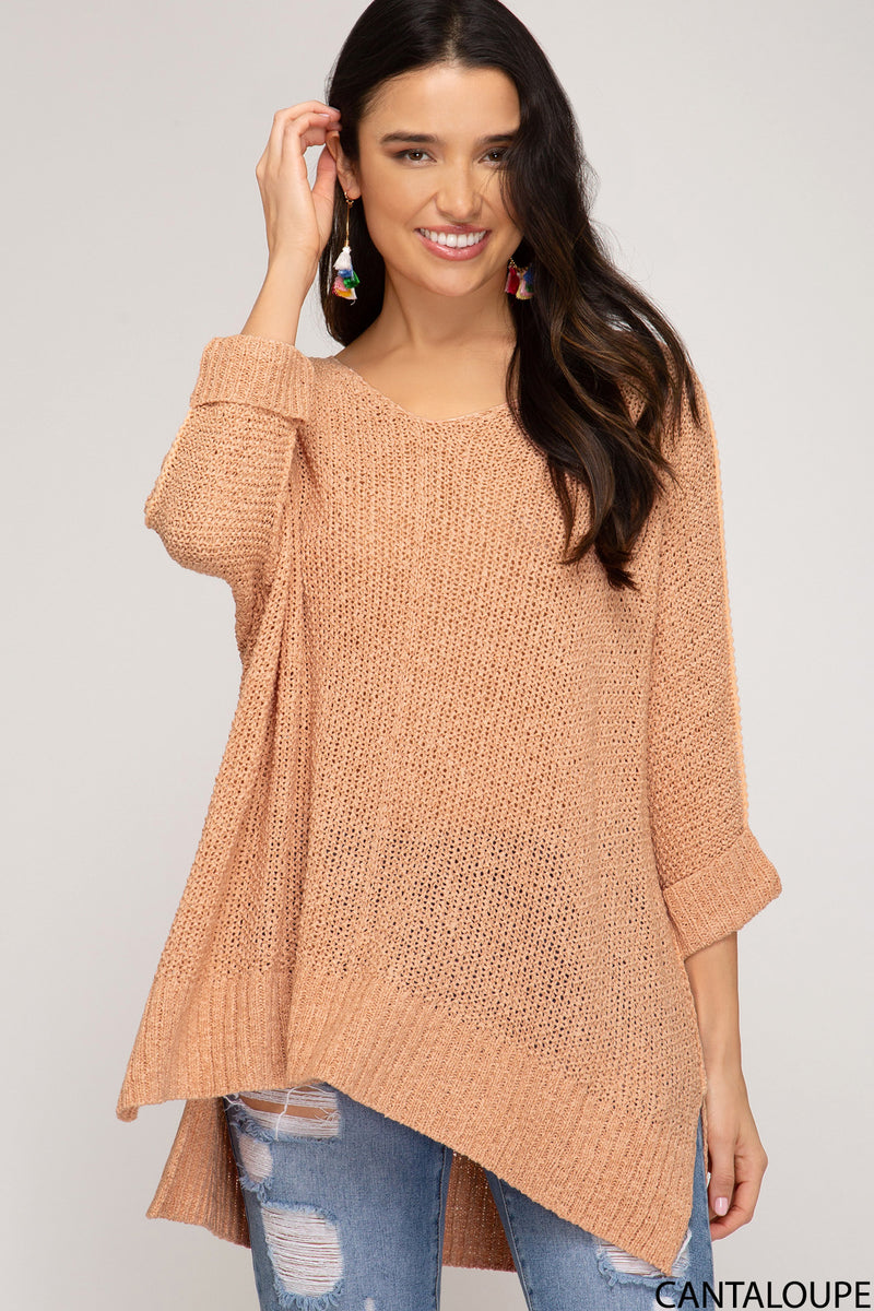 Cantaloupe Hi-Lo Sweater Top 3/4 Sleeves Folded Cuffs