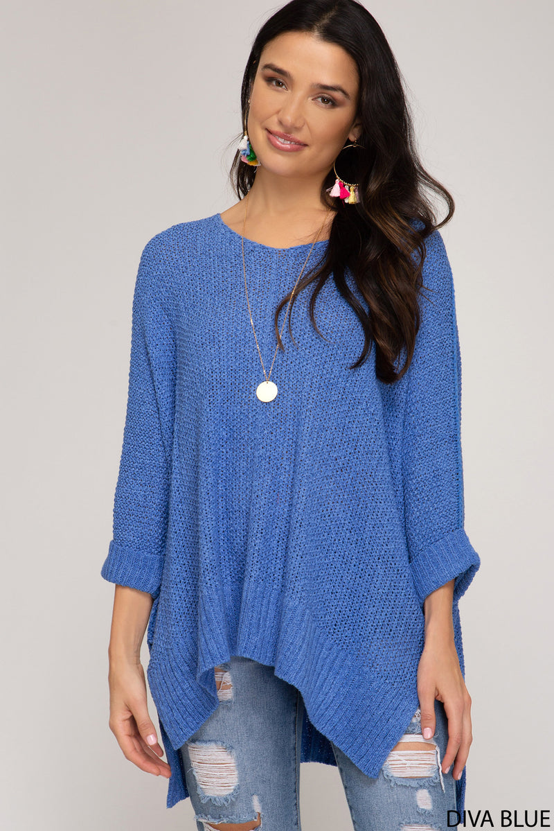 Buy Diva Blue Hi-Lo Sweater Top 3/4 Sleeves Folded Cuffs online at Southern Fashion Boutique Bliss