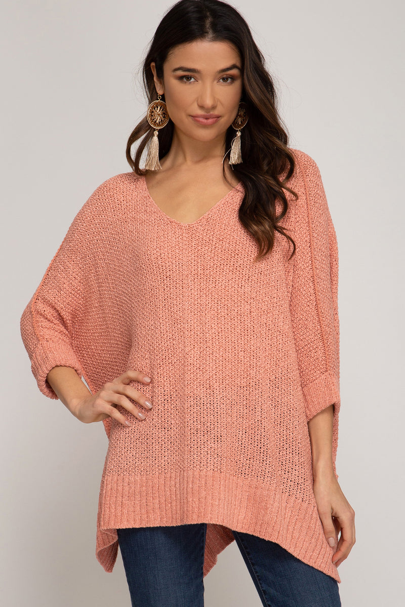 Buy Hi-Lo Sweater Top 3/4 Sleeves Folded Cuffs Peach online at Southern Fashion Boutique Bliss