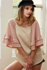 Buy Thermal Waffle Knit Bell Sleeve Top Blush online at Southern Fashion Boutique Bliss