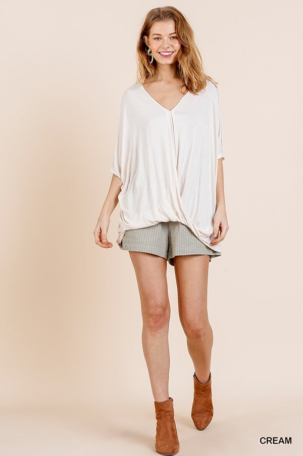 Relaxed Fit Surplice Top Cream