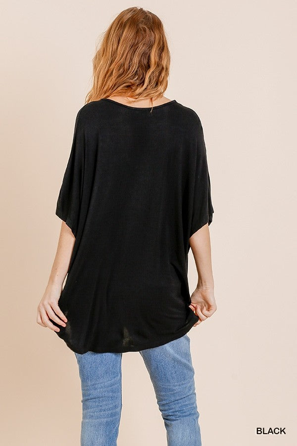 Relaxed Fit Surplice Top Black