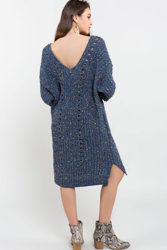 Confetti Chenille Sweater Dress Indigo