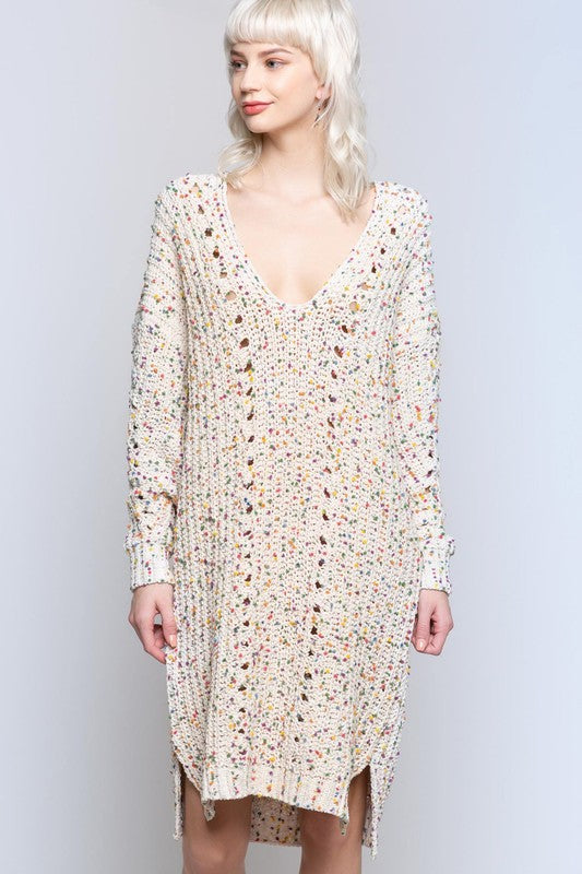 Confetti Chenille Sweater Dress Cream