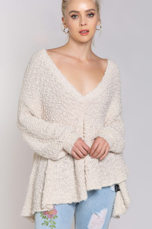 Buy Popcorn Peplum V-Neck Sweater Cream online at Southern Fashion Boutique Bliss