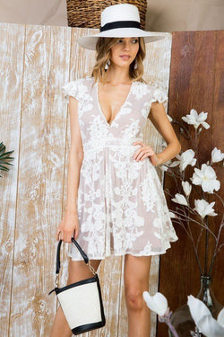 Buy V Neck Ruffle Floral Lace Dress Off White online at Southern Fashion Boutique Bliss