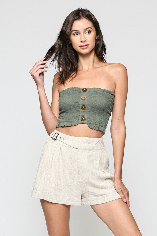 Buy Smocked Tube Top Oilve online at Southern Fashion Boutique Bliss