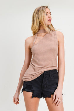 Cut-Out Turtle Neck Top Tan